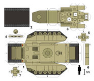 Paper model of a tank. Not a real type, vector illustration Stock Photo