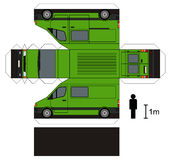Paper model of a van. Paper model of a green delivery vehicle Vector Illustration