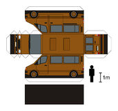 Paper model of a van. Paper model of a light brown van Stock Illustration