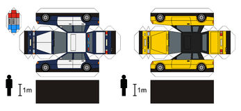 Paper models of cars. Paper models of a police car and yellow coupe, any real types, vector illustration Stock Illustration