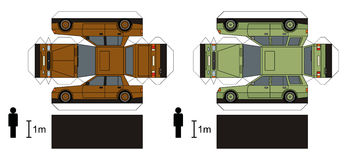 Paper models of cars. Paper models of two personal cars, any real types, vector illustration Stock Illustration