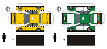 Paper models of taxi. Paper models of two cabs, any real types, vector illustration Royalty Free Illustration