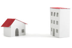 Paper models of village and city dwelling houses Stock Images