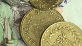 Paper Money, Bills, Currency, Colombia stock footage