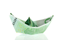 Paper money boat Royalty Free Stock Photo