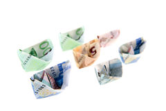 Paper money boats Stock Photography