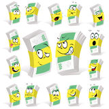 Paper money cartoon. With many expressions Stock Photography