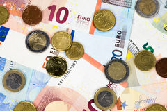 Paper money and coins from Europe. Stock Image