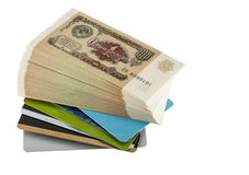 Paper money and credit cards Royalty Free Stock Images