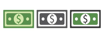 Paper money dollar bills sign. Green and grey color dollar money vector eps10. banknote icon. vector illustration
