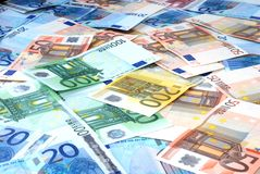 Paper money of euro. Many paper money of euro Stock Image