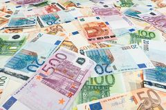Paper money euro. background of banknotes Royalty Free Stock Image