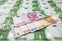 Paper money euro. background of banknotes. For the screen saver on the monitor Stock Image