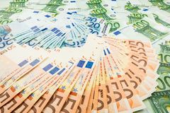 Paper money euro. background of banknotes. For the screen saver on the monitor Royalty Free Stock Photo