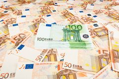 Paper money euro. background of banknotes. For the screen saver on the monitor Stock Photo