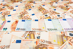Paper money euro. background of banknotes. For the screen saver on the monitor Royalty Free Stock Photography