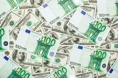 Paper money euro and dolar. background of banknotes Stock Photo