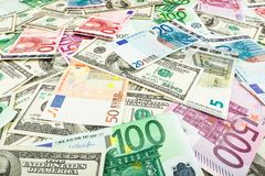 Paper money euro and dolar. background of banknotes. For the screen saver on the monitor Royalty Free Stock Photos