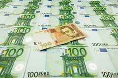 Paper money euro and hryvnia Royalty Free Stock Image