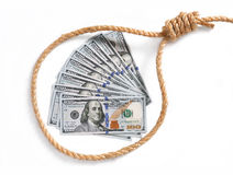 Paper money fan in a noose Royalty Free Stock Photos