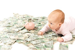 Paper Money From Poland And Little Child Stock Images