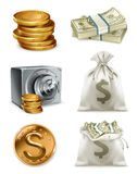 Paper money and gold coin, moneybag. Vector icon set Stock Photography