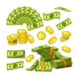 Paper money and gold coins in big amounts Stock Image