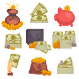 Paper money and money bag. Vector icon set. Paper money and money bag. Concept of big money. Vector icon set Stock Image