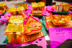 Paper money ,Paper gold for pay respect to god in Chinese New Year day. Which is the cultural beliefs Stock Image