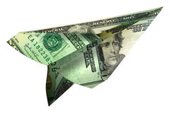 Paper Money plane Stock Image