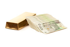 Paper money from poland and gold Stock Images