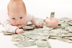 Paper money from poland and little child Royalty Free Stock Photo