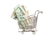 Paper money in a shopping cart Royalty Free Stock Photography