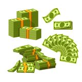 Paper money tied with yellow rubber bands lie in messy heap. Vector Illustration