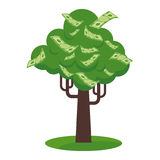 Paper money tree icon. Money tree with gold coins and paper dollars. Symbol of success, wealth and power. Finance and banks, savings and investments. Flat vector Royalty Free Stock Images