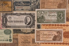 Paper Money of the USSR. The first half of the twentieth century. One ducat. Three rubles. One ruble. Banknotes of the Soviet Union of the early twentieth Stock Photography