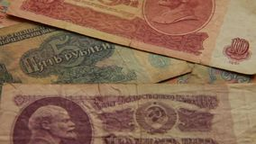 Paper money of the USSR stock footage
