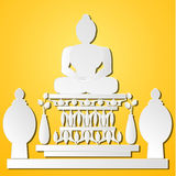 Paper monk image on yellow background Royalty Free Stock Images