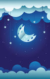 Paper moon and stars Stock Images