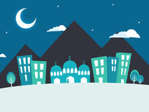 Paper Mosque for Islamic Festivals celebration. View of a urban city with mosque on night background, Creative paper cut out illustration with buildings, mosque royalty free illustration