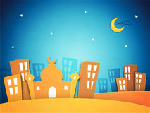 Paper Mosque for Ramadan Kareem celebration. Royalty Free Stock Photos