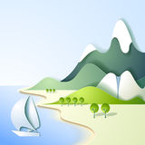 Paper mountain landscape Royalty Free Stock Photos