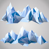 Paper mountains. 2 horizontal borders with paper mountains vector illustration