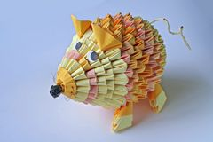Paper Mouse. A mouse crafted from pieces of colorful paper Royalty Free Stock Photos
