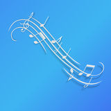 Paper music background with notes, vector illustration Stock Images