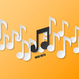 Paper music notes. Vector illustration Royalty Free Stock Photo