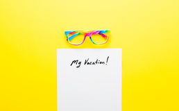 Paper My Vacation and glasses Royalty Free Stock Image