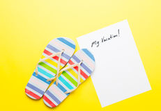 Paper My Vacation and sandals Stock Photo