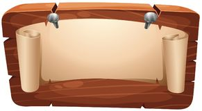 Paper nailed on wooden board stock illustration