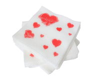 Paper napkin. With red hearts on white Stock Photo